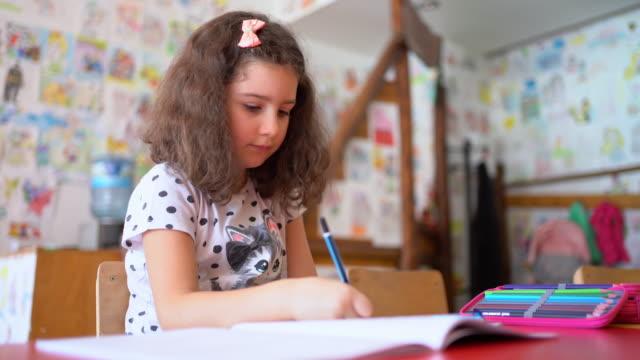 宿題をしている素敵な女の子 - 学校備品点の映像素材/bロール