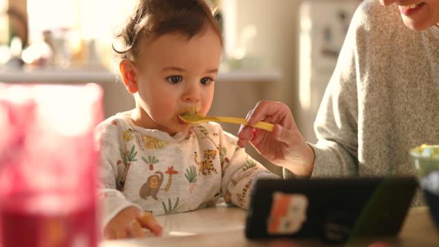 vídeos de stock, filmes e b-roll de mãe adorável alimentando seu filho bebê com purê de brócolis enquanto ele assiste desenho animado no celular - comida de bebê