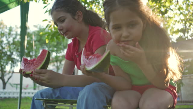 lovely sister enjoying fresh watermelon and trying to not be messy - imperfection stock videos & royalty-free footage