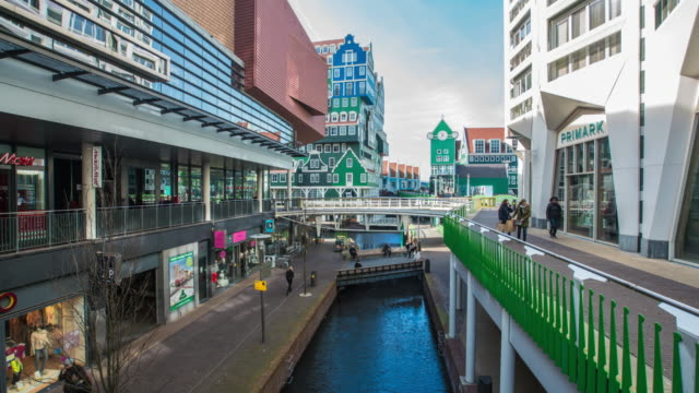 lovely street with colors in amsterdam time lapse - silvestre stock-videos und b-roll-filmmaterial