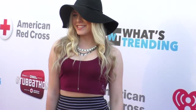 lovey james at the what's trending's fourth annual tubeathon benefitting american red cross at iheartradio theatre in burbank - celebrity sightings... - fourth occurrence stock videos & royalty-free footage