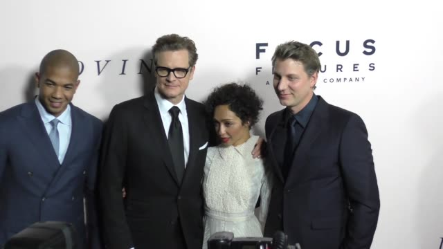 """vídeos de stock, filmes e b-roll de loving cast at """"loving"""" los angeles premiere presented by focus features in los angeles ca - colin firth"""
