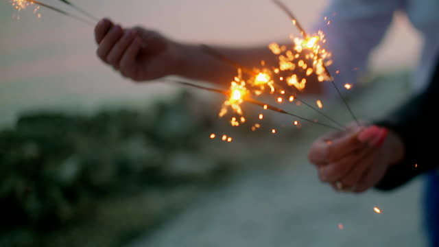 Loving Couple Holding sparklers