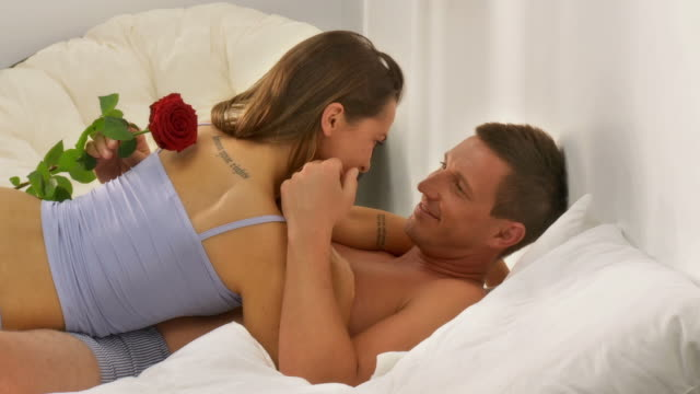 hd dolly: loving couple in the morning - sex woman bed stock videos & royalty-free footage