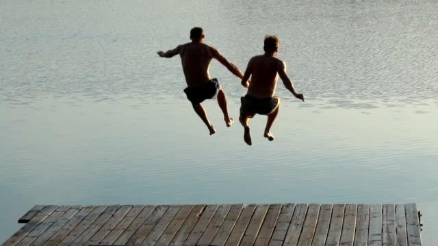 湖に飛び込む愛するカップル - ゲイ点の映像素材/bロール