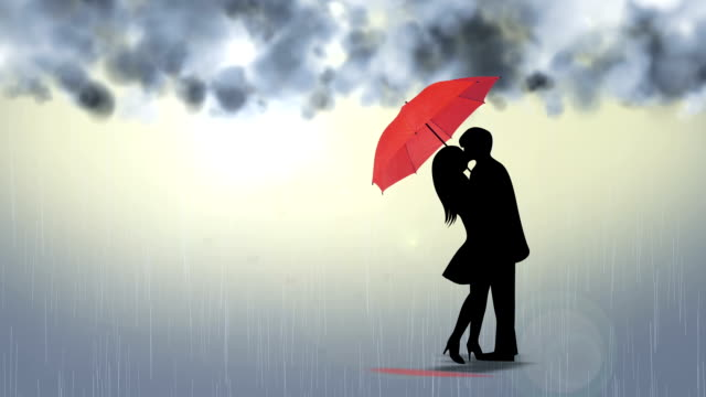 loving couple kissing in the rain - hd format stock videos & royalty-free footage
