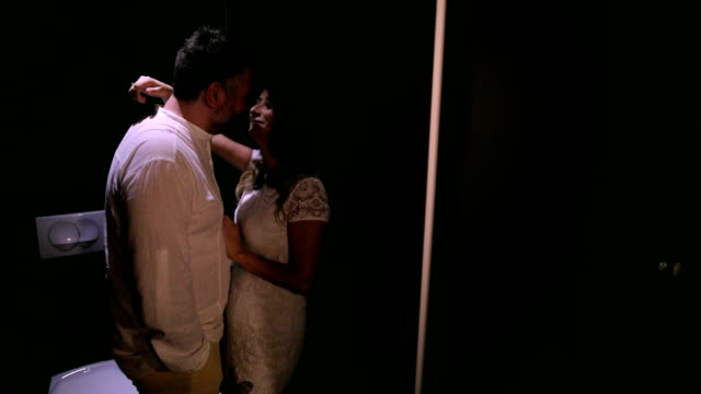 loving couple kissing in the toilet - human copulation stock videos and b-roll footage