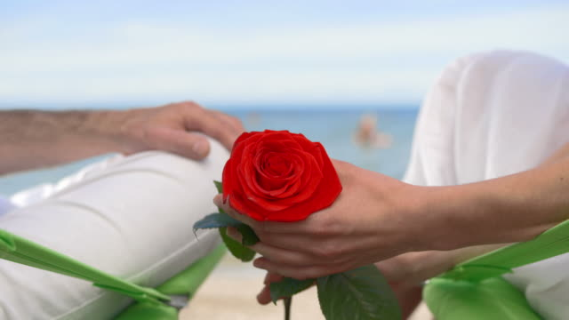 vídeos de stock, filmes e b-roll de hd: casais apaixonados na praia - cadeira dobrável
