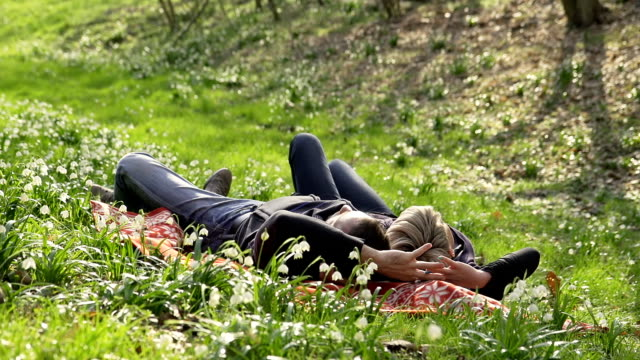 HD DOLLY: Loving Couple Relaxing In The Grass