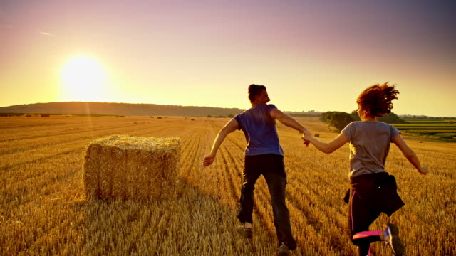 ws loving couple running on a wheat field at sunset - hay bail stock videos & royalty-free footage
