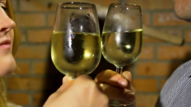 hd: loving couple tasting wine - basement stock videos and b-roll footage