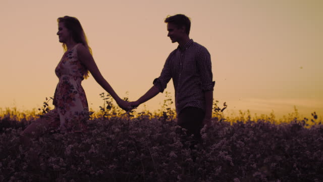 SLO MO Loving couple walking in the field at sunset