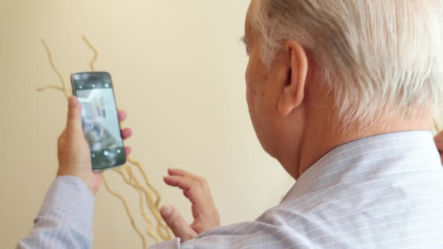 a loving elder couple taking selfies on a smartphone device in their living room - giovane nell'animo video stock e b–roll