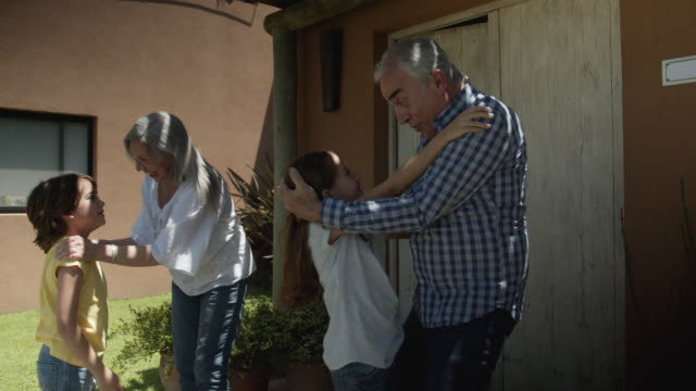 loving grandparents greeting their grandchildren as they arrived for a visit all hugging and kissing - visita video stock e b–roll