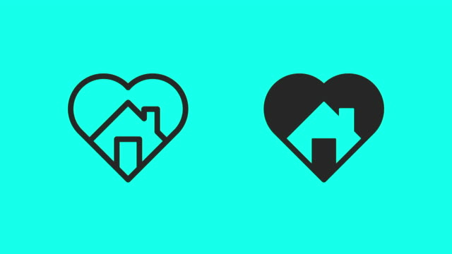 loving home icons - vector animate - outline stock videos & royalty-free footage