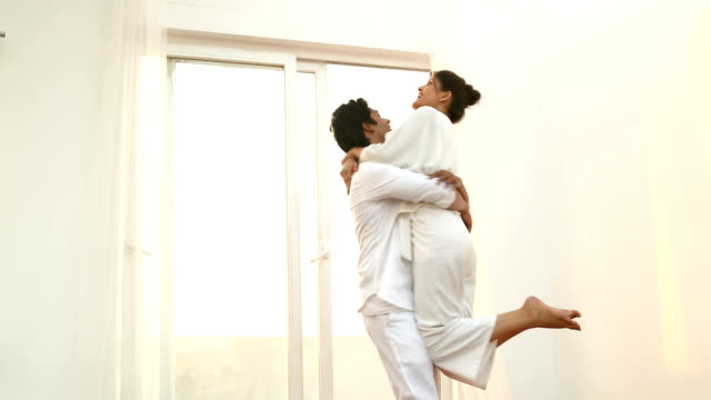 ms loving young couple dancing at home / delhi, india - young couple stock videos & royalty-free footage