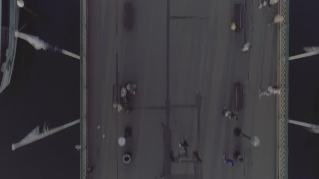 Low aerial view over Pyrmont Bridge Road pedestrian Bridge. Darling Harbour. Sydney Australia