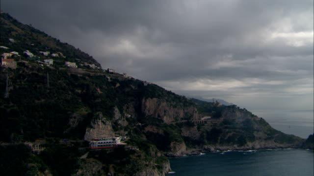 Low Along Coastline  - Aerial View - Campania, Provincia di Salerno, Positano, Italy