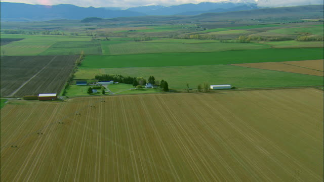 vídeos de stock, filmes e b-roll de low altitude aerial of crops and a small farm near bozeman, mt - bozeman