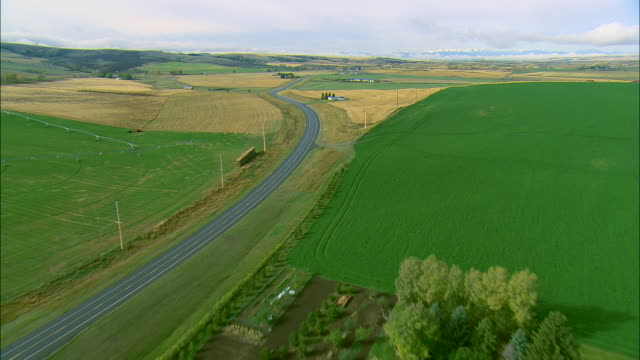 vidéos et rushes de low altitude aerial over rollings hills and fields in autumn along a two-lane highway near bozeman, mt - montana