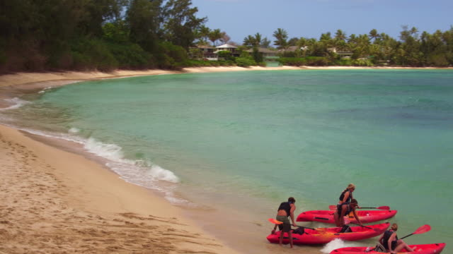 low angle aerial shot of four friends getting in their ocean kayaks - turtle bay hawaii video stock e b–roll