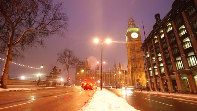 t/l low angle big ben in snow, from embankment, london, uk - uk politics stock videos & royalty-free footage