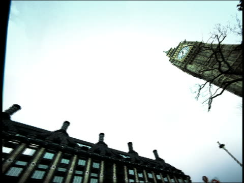 high contrast low angle big ben + ornate iron fence in foreground / camera spinning slowly / london, england - high contrast stock videos & royalty-free footage