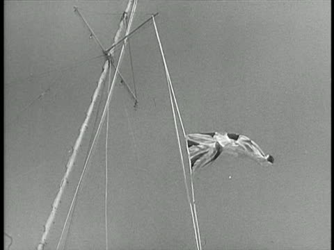 b/w 1948 low angle british flag lowering from flagpole / israel / documentary - 1948 stock videos & royalty-free footage