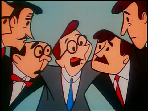 1948 ANIMATED low angle MS businessman talking to group of worried businessmen in huddle
