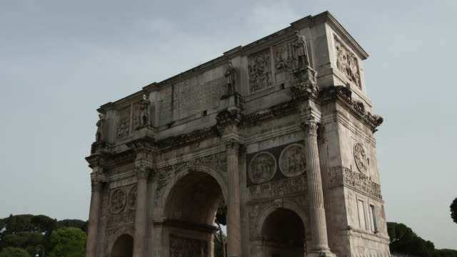 low angle camera view of the arch of constantine, rome - arch of constantine stock videos and b-roll footage