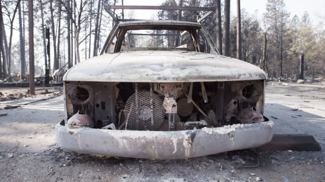low angle, car destroyed in california wildfire - abandoned stock videos & royalty-free footage