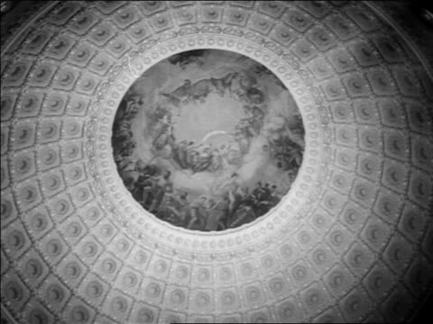 b/w 1963 low angle ceiling of rotunda of capitol building / washington dc / newsreel - politics abstract stock videos & royalty-free footage