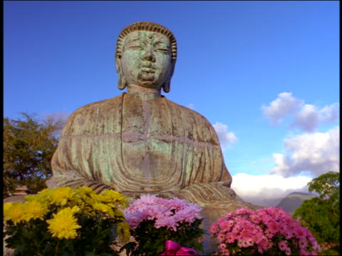 stockvideo's en b-roll-footage met low angle close up buddha statue with colorful flowers at base / jodo mission, maui, hawaii - missiehuis