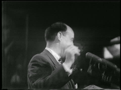 b/w 1952 low angle close up nominee adlai stevenson waving at democratic national convention / chicago / news - 1952 stock videos & royalty-free footage