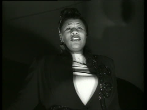 b/w low angle close up of ella fitzgerald singing - ella fitzgerald stock videos & royalty-free footage