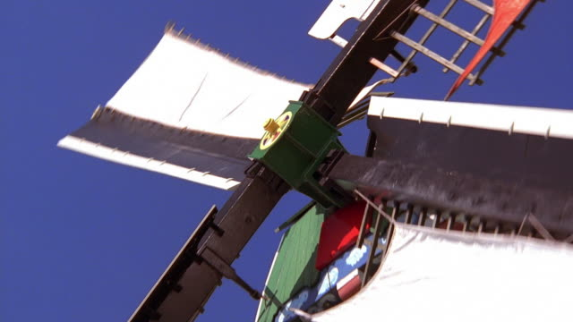 low angle close up zoom out windmill / holland - netherlands stock videos & royalty-free footage