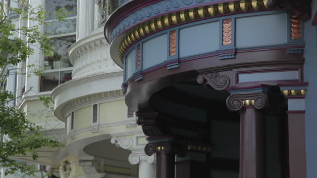 low angle cu dentils and columns on victorian rowhouses in san francisco - victorian stock videos & royalty-free footage
