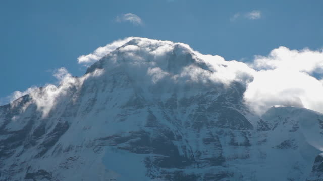 low angle cu of eiger mountain - glacier stock videos & royalty-free footage