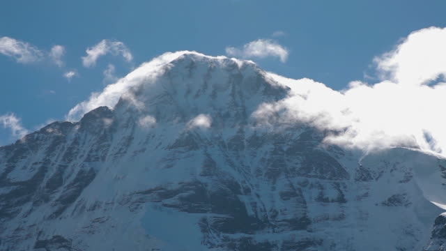 low angle cu of eiger mountain - mountain peak stock videos & royalty-free footage