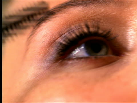 vidéos et rushes de low angle extreme close up mascara being applied to eyelashes - mascara