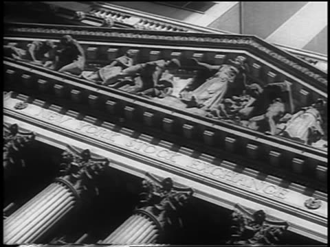 b/w 1962 canted low angle facade of new york stock exchange building / nyc / newsreel - newsreel stock videos and b-roll footage