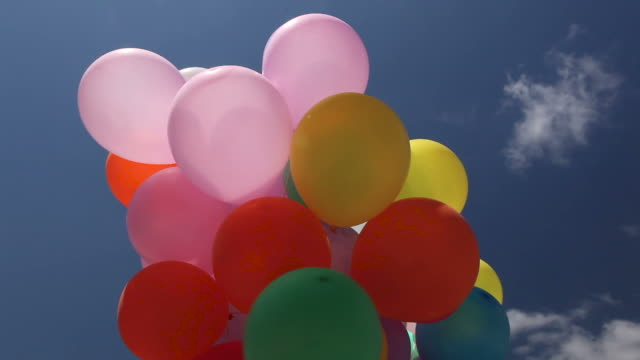 Low angle from below a bunch of colourful balloons