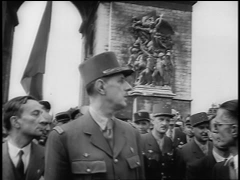 b/w 1944 low angle general charles de gaulle talking outdoors / crowd in background / liberation of paris / doc - charles de gaulle stock videos & royalty-free footage