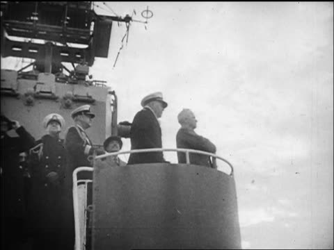 low angle harry truman with naval officers standing on military ship looking up / nyc / newsreel - only mature men stock videos & royalty-free footage