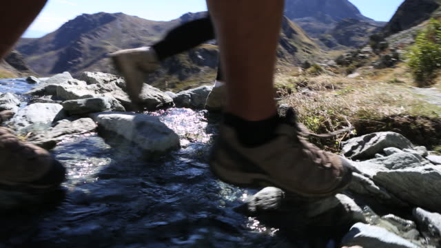 Low angle POV of hikers' feet following trail, crossing stream