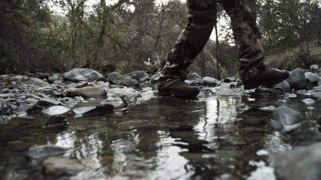 low angle, hunters walk through stream - jagd stock-videos und b-roll-filmmaterial