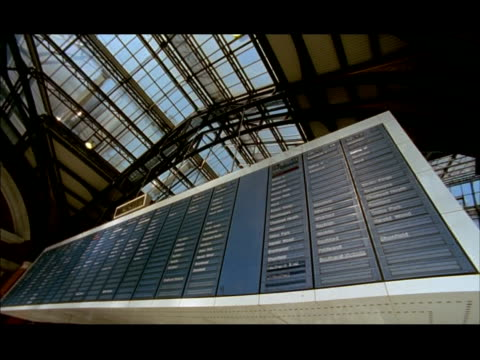 MS Low angle, Information board changing, Liverpool Street Station, London, England