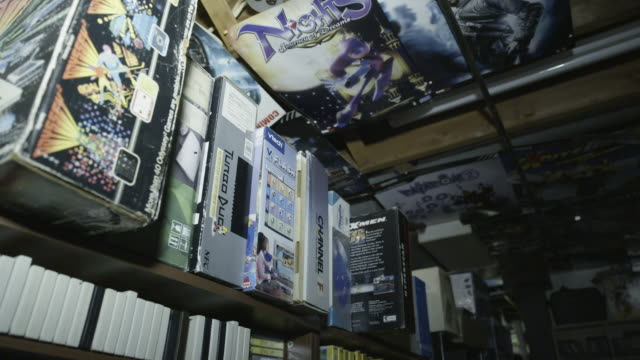 low angle, large video game collection - cartridge stock videos & royalty-free footage