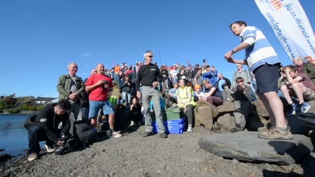 Low Angle Long Shot competitors compete in the World Stone Skimming Championships held on Easdale Island on September 29 2013 in EasdaleSeilScotland...
