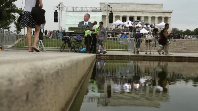 low angle long shot people listen to us president barack obama address the event 'let freedom ring commemoration and call to action' honoring the... - i have a dream 1963 speech stock videos & royalty-free footage